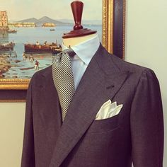 CHIAIA Double Breasted Grisaille Suit.  #gennaroannunziata #mastertailor…