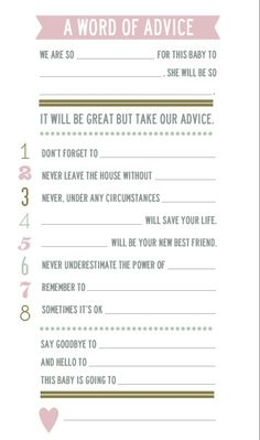 Baby Shower Advice Cards by thatpairofcrutches on Etsy. Fun baby shower game and keepsake.