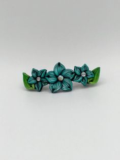 Turquoise Flower Barrette 3.5in; Floral Hair Accessory; Fall Fashion; Style No: BLF02 by EmilyMah on Etsy