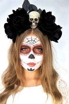 halloween day of the dead flower crown halloween fascinator sugar skull costume black velvet roses dia de los muertos headband