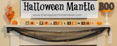 Do this with scrap wood and vinyl    Halloween Mantle from The Happier Homemaker