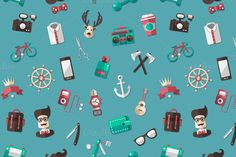 Hipster Icons Pattern by Decorwith.me Shop on Creative Market