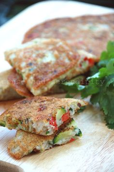 KOREAN PANCAKES (gluten free, dairy free, egg free) - rice, zucchini and some other veggies (including bean sprouts) make these a healthy snack.