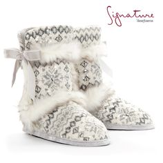 Snuggle up, buttercup! Comfort doesn't get much cuter than this: Dearfoams Signature Collection: Sequin Fair Isle Boot. #slippers #comfortandjoy #boots