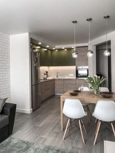 Inspiring Small Apartment Kitchen Design Ideas 2 — Home Design Ideas Modern Kitchen Interiors, Modern Kitchen Design, Home Decor Kitchen, Kitchen Living, Interior Design Living Room, Living Room Designs, Modern Kitchens, Small Kitchens, Apartment Kitchen