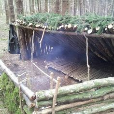 A simple leanto structure with a dakota fire pit a raised bed a roasting spit and 2 heat reflective walls. Just some of the things we get up to when the sun comes out. These creature comforts help massively when the sun goes down and the rain comes out instead. Photo: @strandedsurvival