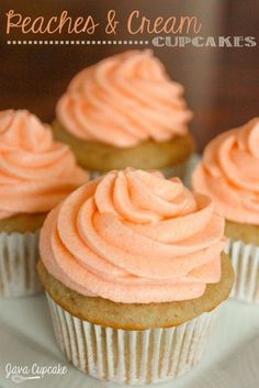 Peaches n' Cream Cupcakes | http://JavaCupcake.com omg these sound amaze!!!!!!!!!!!!!!!!!!cant wait to try after my moms done with an amaze diet it is called nutrimost
