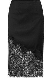 Alice + OliviaEvana lace-paneled wool-blend crepe skirt
