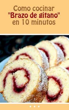 "How to cook ""Gypsy Arm"" in 10 minutes Mexican Sweet Breads, Mexican Bread, Mexican Food Recipes, Sweet Recipes, Cake Recipes, Dessert Recipes, Cuban Dishes, Pan Dulce, Latin Food"