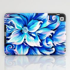 Blue abstract floral painting.  iPad Case by Kristy Patterson Design - $60.00
