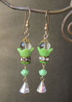 Garden Party - Vintage Czech Glass Flower assemblage earrings by jryendesigns.etsy.com