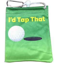 "This fun tee bag is 4.5"" x 5.5"". The front and back say ""I'd Tap That"". It has a drawstring and a clip to hang on your bag. It is made of micro-fiber material and comes with 4 custom tees. A great gift or tournament prize."