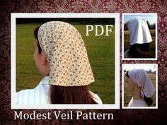Modest Prayer Veil Pattern Long Veil Head covering Head scarf Tutorial Headcovering Sewing PDF Tutorial Headscarf Bandana DIY Headwrap. $9.00, via Etsy.