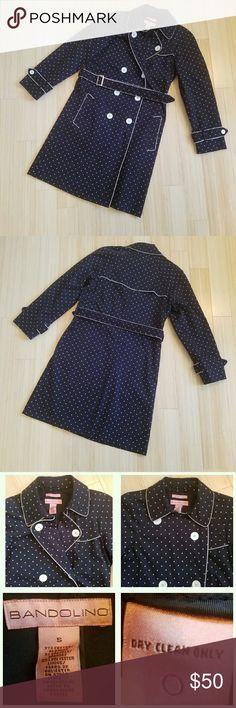 Navy Blue Polka Dot Trench Size Small Navy blue with white polka dot trench coat in size small. Pinup style even when it's rainy or cold! EUC. Bandolino Jackets & Coats Trench Coats