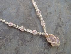 Hemp Necklace Netted Wrapped Stone Light Pink by KnottyandNiceHemp