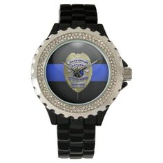 Thin Blue Line - Gold Retired Police Badge Wrist Watch, Adult Unisex, Floral White / Pale Blue / Lemon Chiffon All Black Watches, Casual Watches, Thin Blue Lines, Beautiful Watches, Black Enamel, Fashion Watches, Women Accessories, Fashion Accessories, Women Jewelry