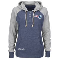 Women's New England Patriots Majestic Navy Overtime Madness Pullover Hoodie