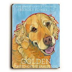 Golden Retriever by Artist Ursula Dodge 14'x20' Planked Wood Sign Wall Decor Art *** New and awesome product awaits you, Read it now  (This is an amazon affiliate link. I may earn commission from it)