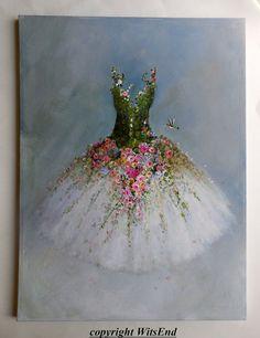 Tutu de rosas pintura reservada para Hilda originales ooak