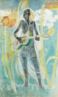 (Korea) The poet with guitar,1969 by Chun Kyung-ja (1924-2015). Korea.