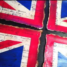 This is my Snow Day creativity: antiqued torn Union Jack painted onto the Treaty of Waitangi