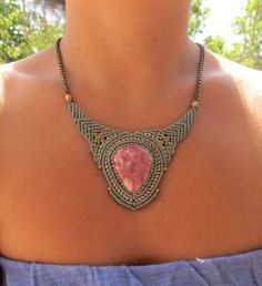 macrame necklace with rodocrosite by Rommymacrame on Etsy