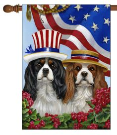 "Cavalier King Charles American Pride House Flag  art by ©Suzanne Renaud Flag Size: 28"" x 40"" Flag pole not included Proudly Printed in the USA Vibrant colors printed on a poly/cotton outdoor quality fabric. Printed on both sides of the fabric. Text is reversed on the back of flag. Receive your flag in 7 – 10 business days!"