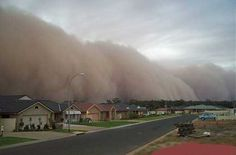 A large dust storm that hit the town of Griffith, NSW, Australia in 2002