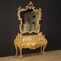 Venetian dresser with mirror in lacquered wood. Visit our website www. Victorian Furniture, French Furniture, Antique Furniture, Gold Dresser, Dresser With Mirror, Antique Market, Antique Stores, Venetian Mirrors, Rococo