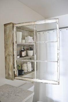 20 Fabulous Ways to Repurpose Old Windows -Turn Old Windows Into Window Cabinet
