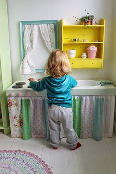 Could even make a dresser unit top into a kitchen while leaving lower to continue storing clothes. LOVE the frame window! Kids Den, Kids Room, Cubby Houses, Play Houses, Diy Play Kitchen, Play Kitchens, Kids Play Spaces, Storing Clothes, Home Daycare
