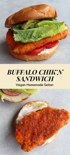 Of course! Crispy, spicy seitan with a zing. You can't go wrong! The homemade seitan makes this protein-packed sammie a cut above the rest. Vegan Sandwich Recipes, Homemade Sandwich, Chicken Sandwich Recipes, Fried Chicken Sandwich, Vegetarian Recipes, Vegan Sandwiches, Homemade Vegan Burgers, Going Vegetarian, Vegetarian Breakfast