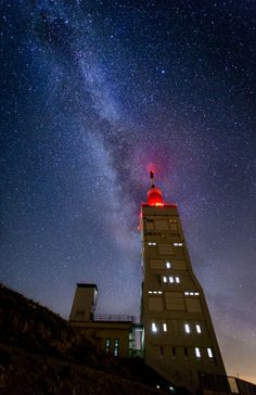 The Milky Way above the transmission mast at the top of Mont Ventoux, Provence, France