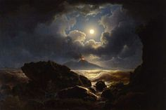Joseph Rebell Tempest in the moonlight in the Gulf of Naples, 1823 — Nocturne, Landscape Art, Landscape Paintings, Landscapes, Skier, Moonlight Painting, Midnight Sky, Moon Photography, Classical Art