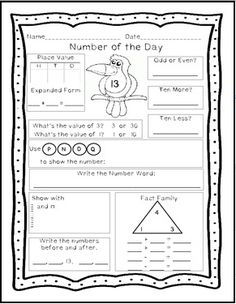 Over 100 ready to print pages for number of the day activities for numbers 11 - 120  $