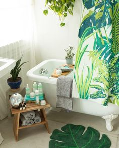 """67.2k Likes, 245 Comments - Urban Outfitters (@urbanoutfitters) on Instagram: """"Bath time is all the time.  Shop the Dreamy Jungle Shower Curtain, SKU #43398973. #UOHome…"""""""