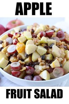 This Apple Fruit Salad with Greek vanilla yogurt dressing is filled with apples grapes oranges and mixed with a creamy cinnamon sauce Fruit Salad With Yogurt, Creamy Fruit Salads, Best Fruit Salad, Dressing For Fruit Salad, Jello Salads, Fruit Fruit, Apple Salad Recipes, Healthy Salad Recipes, Fruit Recipes