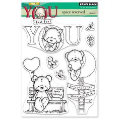 Valentine themed Penny Black clear stamp featuring teddy bears, hearts, birds, love you to the moon and back and more!