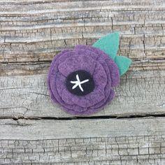 Poppy felt flower headband or clip in heathered purple  www.etsy.com/listing/256619814/poppy-felt-flower-headband-in-heathered