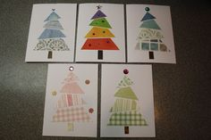 Great cards for kids to create using recycled cards, in colour tones and could even incorporate paint chips!
