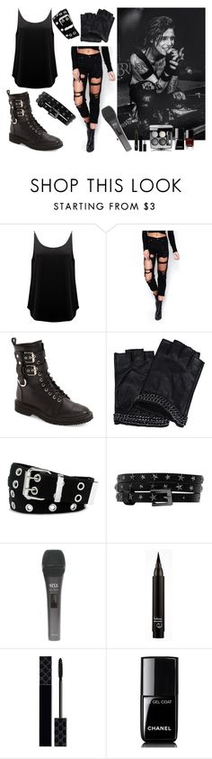 """""""Andy Biersack // BVB (REQUESTED)"""" by xxwhatshernamexx ❤ liked on Polyvore featuring BA&SH, WithChic, Giuseppe Zanotti, Karl Lagerfeld, Relic, Gucci, Chanel, BVB, BLACKVEILBRIDES and outfits"""