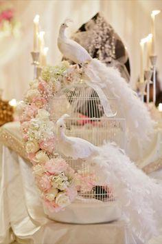#wedding #vintage #cage #pink #swan