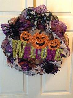 Halloween wreath welcome