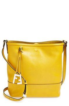 Fendi Leather Bucket Crossbody Bag