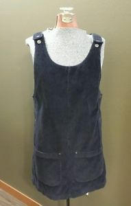 Fun for fall and winter! Women's Paris Sport Club Navy Blue Corduroy Dress with Pockets Size Small 100% Cotton