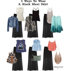 6 Ways To Wear a Black Maxi Skirt by AislingH