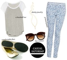 A casual Saturday outfit: printed pants, a baseball style tee, delicate jewelry, rollable flats, and cute sunglasses
