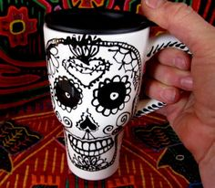 Sacred Heart & Skull Travel Mug Day of the Dead by pattymara, $25.00