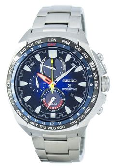 We are the leader in watch sales online Seiko Prospex World Time Solar Chronograph Men's Watch has Stainless Steel Case, Stainless Steel Bracelet, Solar Powered, Caliber: Best Seiko Watch, Casio Watch, Stainless Steel Bracelet, Stainless Steel Case, Cool Watches, Watches For Men, World Timer, Seiko Solar, Solar Watch