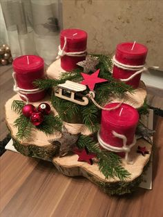 Holiday Red Candlestick Art Design Ideas Diy Craft Table diy arts and crafts table Centerpiece Christmas, Christmas Candles, Rustic Christmas, Xmas Decorations, Christmas Wreaths, Christmas Ornaments, Diy Christmas, Diy Advent Wreath, Homemade Decorations